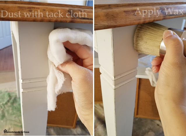 using a tack cloth to dust a table before applying wax