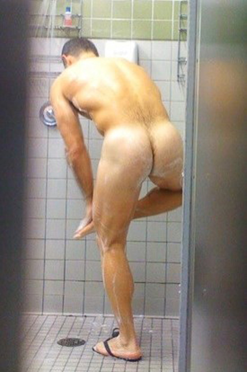 Athletic college male nude