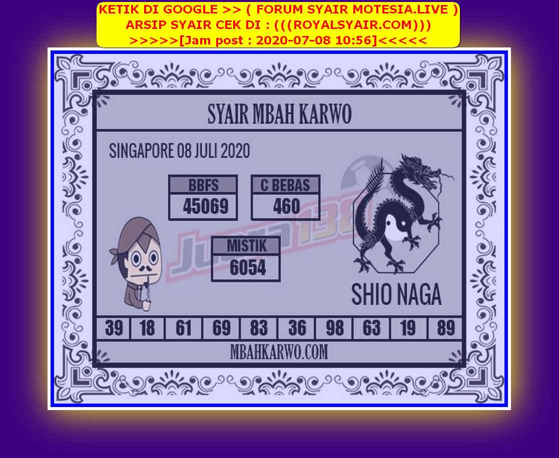 Kode syair Singapore Rabu 8 Juli 2020 126