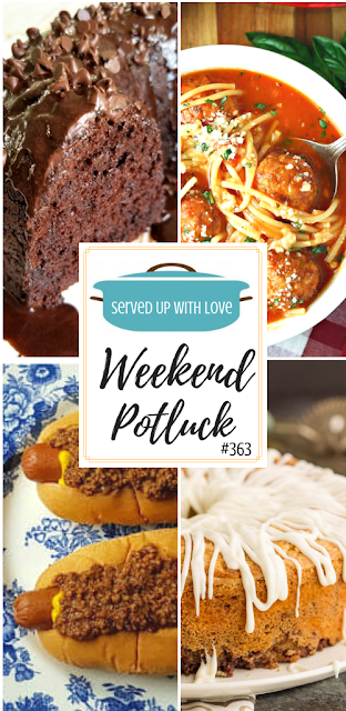 Weekend Potluck featured recipes include Hot Dog Chili Sauce, Sour Cream Cinnamon Roll Pound Cake, Spaghetti and Meatball Soup, Impossible 5 Ingredient Chocolate Cake, and so much more.