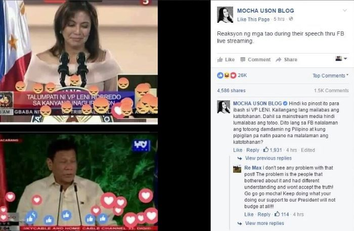 Mocha Uson Facebook post vs Robredo