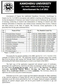 Online Applications are invited for Teaching and Non Teaching Posts in Kamdhenu University Gujarat