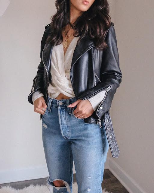 levis old hangouts skinny 501 jeans, allsaints balfern biker jacket, rue21 knot sweater