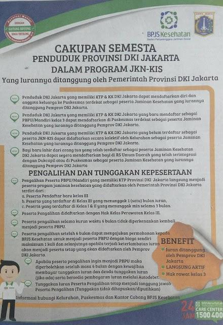 Cara Membuat BPJS Gratis Dari Pemerintah Provinsi DKI