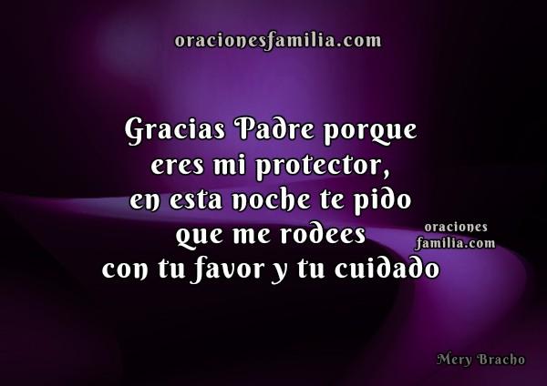 Oración corta de la noche, imagen cristiana de oraciones para la buenas noches, frases cristianas en plegaria por Mery Bracho.