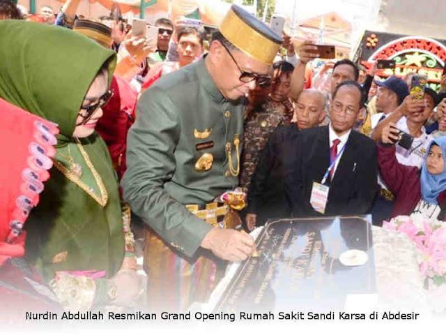Nurdin Abdullah Resmikan Grand Opening Rumah Sakit Sandi Karsa di Abdesir