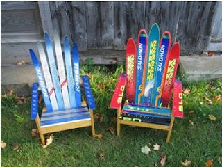 cómo hacer una silla con reciclaje, como hacer sillas de reciclaje, como reciclar tablas de esquiar