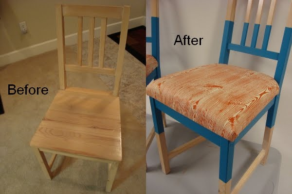 I started by removing the seats on each chair to upholster later. Then I marked 8  down from the top rails and 10  up from the bottom legs. & Ikea Stefan Chair Makeover | a constant project