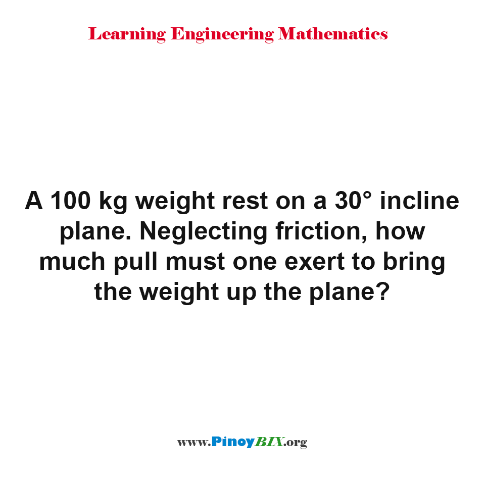 How much pull must one exert to bring the weight up the plane?