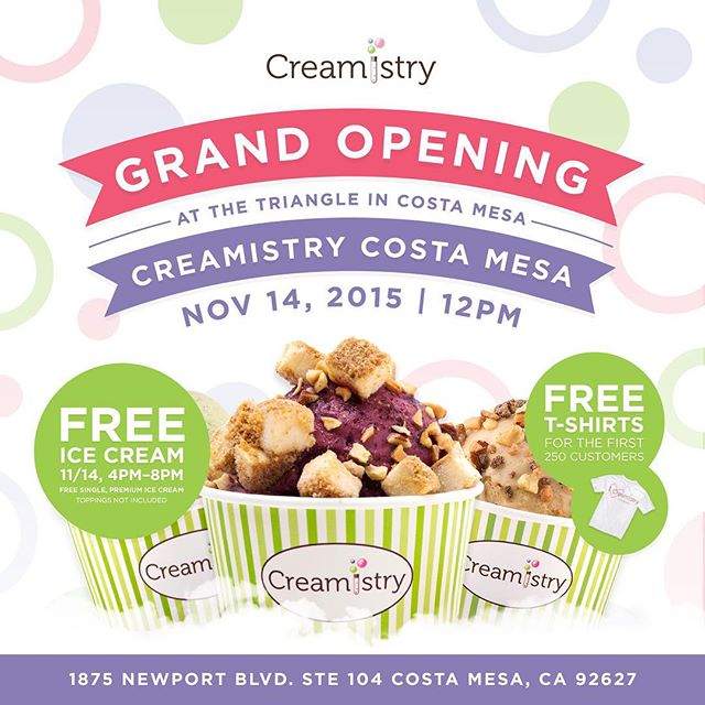 FREE LIQUID NITROGEN ICE CREAM THIS SATURDAY NOV. 14 @ CREAMISTRY - COSTA MESA (TRIANGLE SQUARE)