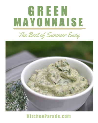 Green Mayonnaise ♥ KitchenParade.com, a whole new way to think of mayonnaise, blended with spinach and fresh herbs.