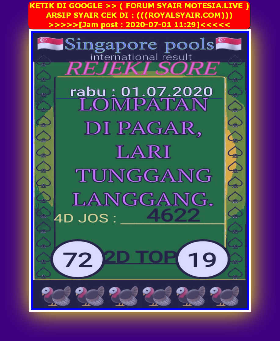 Kode syair Singapore Rabu 1 Juli 2020 38