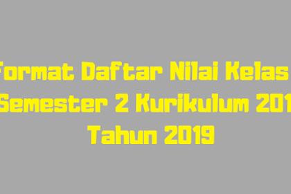 Format Daftar Nilai Kelas 3 Semester 2 Kurikulum 2013 Tahun 2019