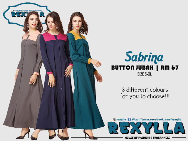 rexylla, joint colour, button jubah, sabrina collection