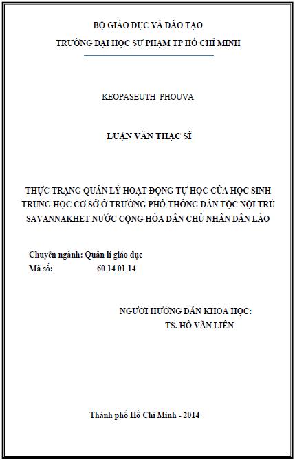 Thực trạng quản lý hoạt động tự học của học sinh trung học cơ sở ở trường phổ thông dân tộc nội trú Savannakhet nước Cộng Hòa Dân Chủ Nhân Dân Lào
