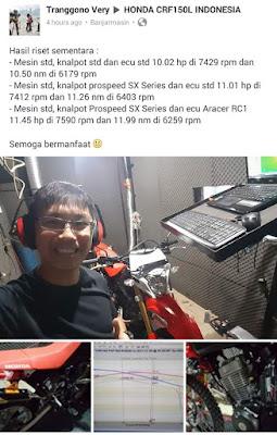 Info Bro Very mengenai tes Dyno CRF150L