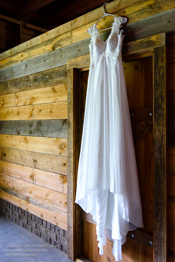 a photo of a wedding dress at a country wedding