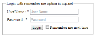 remember me next time checkbox option in login form in asp.net
