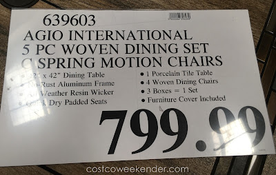 Deal for the Agio International 5 Piece Woven Dining Set at Costco