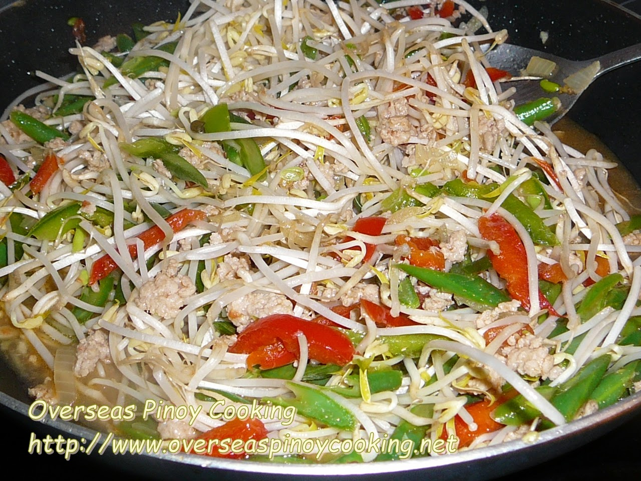 Ginisang Togue with Pork Giniling - Cooking Procedure