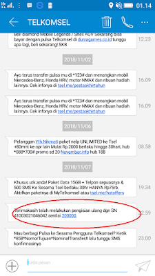 Bukti Pembayaran Pulsa Gratis Rp200.000 dari Aplikasi Hago Android