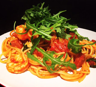 Spaghetti with Prawns, Chorizo & Rocket