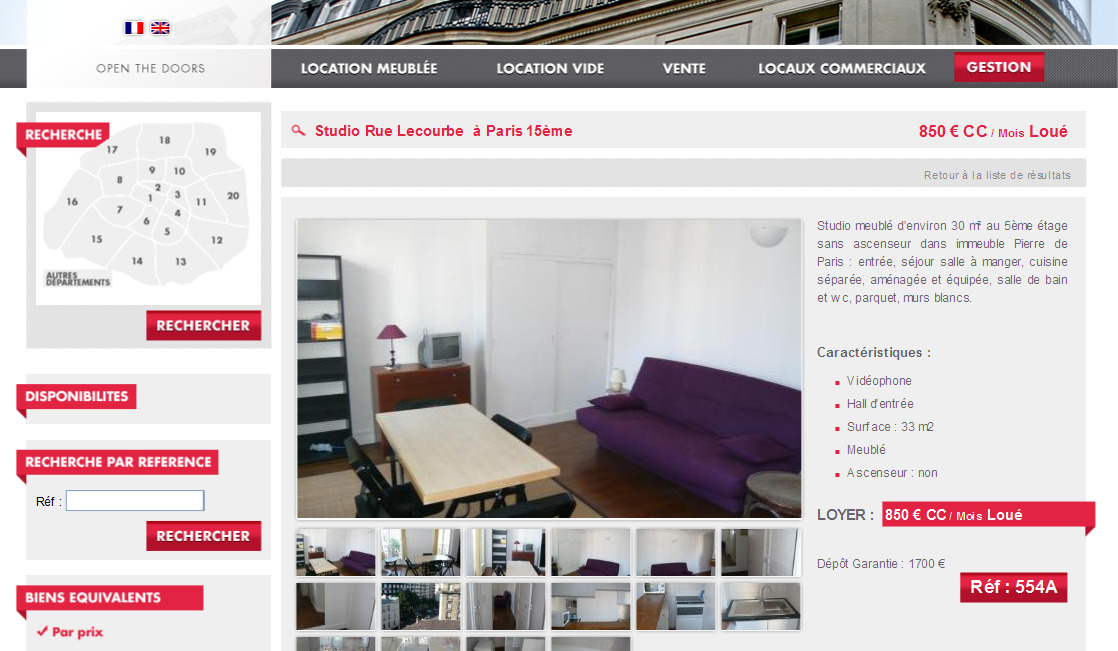 Beau studio meubl paris for Location appartement meuble paris