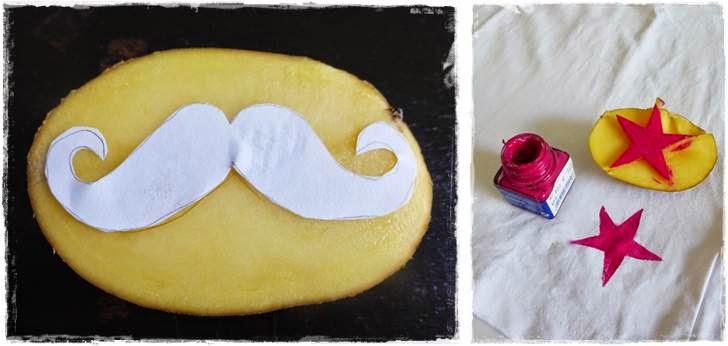 DIY Kartoffeldruck Schnurrbart Moustache T-Shirt bestempeln
