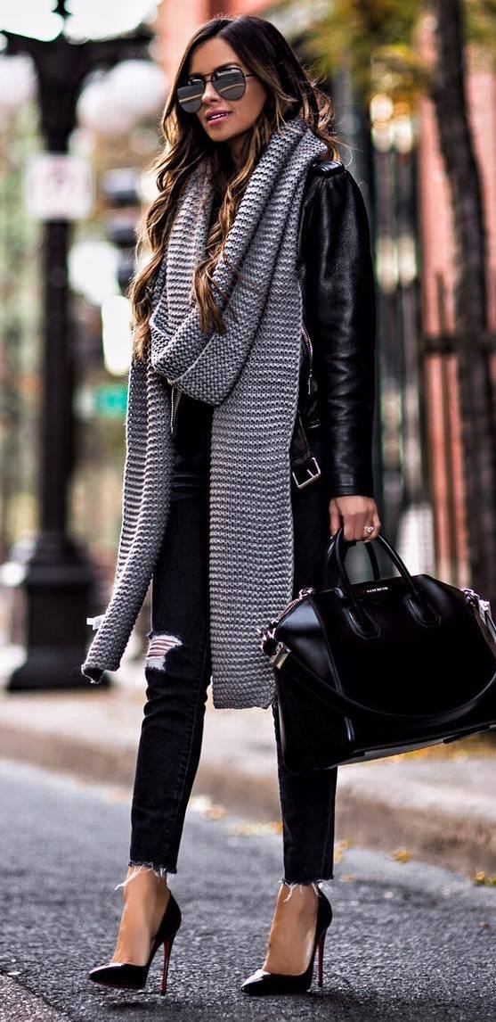 how to wear a knit scarf : black jacket + ripped jeans + heels + bag