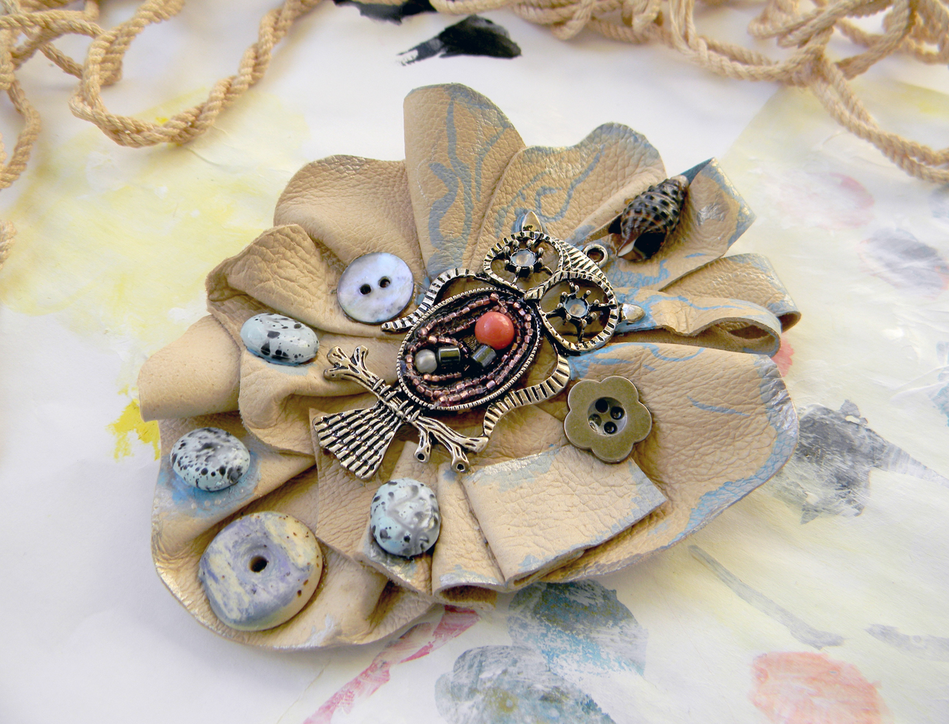 Leather Brooch Handmade Steampunk Jewelry