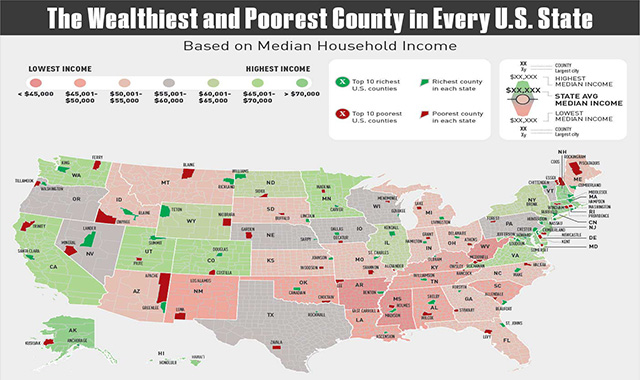 The Richest and Poorest County by State