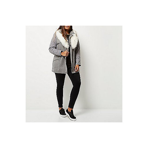 River Island Padded Faux Fur Coat