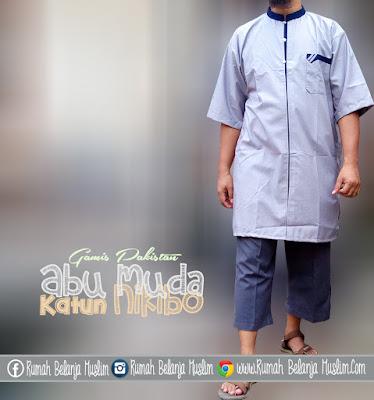 Baju Gamis Pria Katun Nikibo Abu Muda