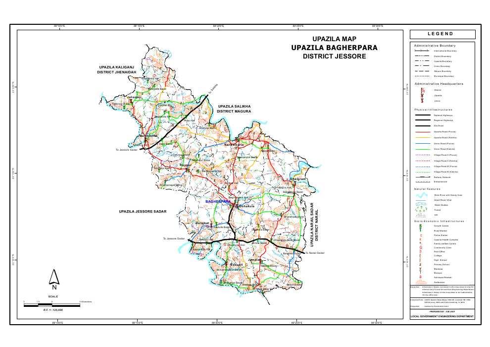 Bagherpara Upazila Map Jessore District Bangladesh