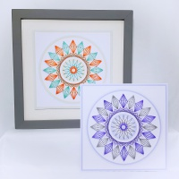 Shadow effect circle modern digital print and stitch on card hand embroidery paper pricking pattern