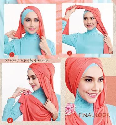 Tutorial Hijab Turban Pashmina Modern Gaya #1 Drappery Menyamping Mermaid
