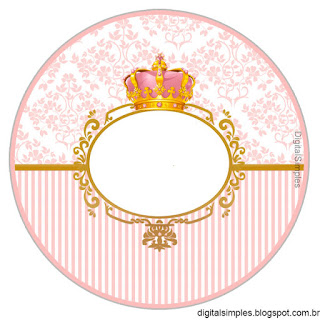 Golden Crown in Pink Toppers or Free Printable Candy Bar Labels.