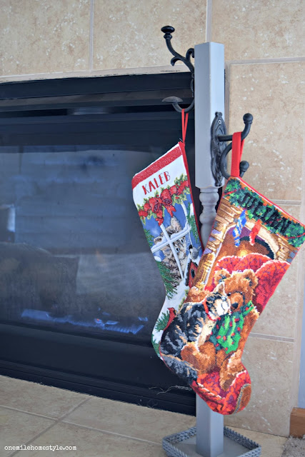 Simple DIY stocking hanger instead of hanging stockings on the mantel
