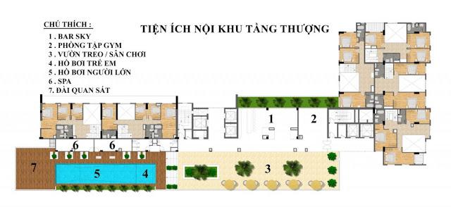 Mặt bằng tiện ích tầng cao căn hộ Ocean View Đà Nẵng