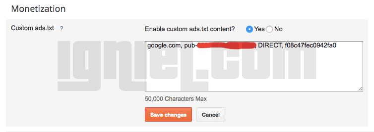 Cara Pasang Kode iklan ads.txt AdSense di Blogspot