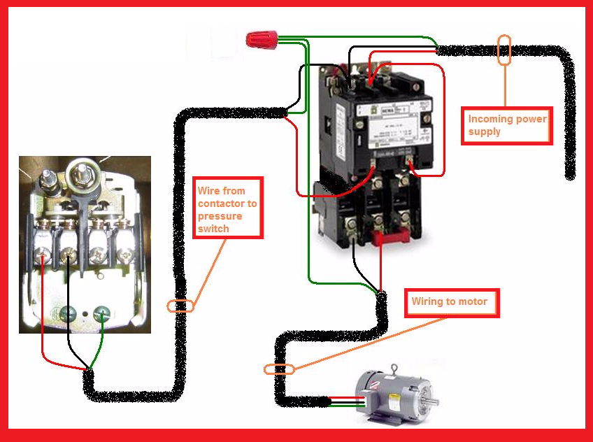 single phase motor contactor wiring diagram elec eng world. Black Bedroom Furniture Sets. Home Design Ideas