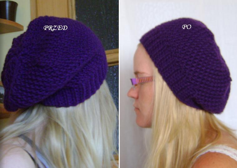 118bd649d Sprułam nadmiar czapki i od nowa zaczęłam zmniejszać liczbę oczek. Teraz  beret prezentuje się o wiele lepiej.
