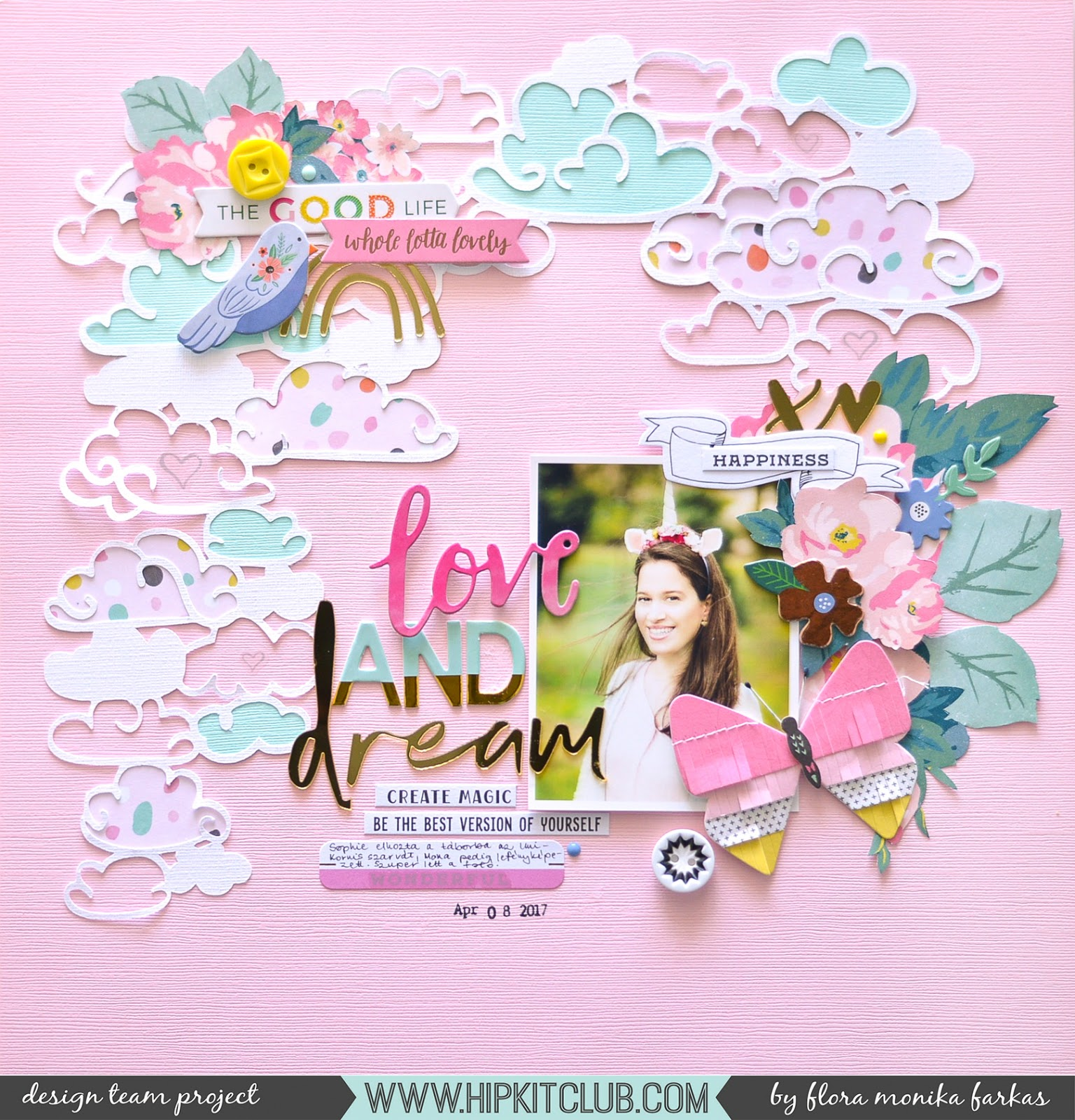 Clouds and unicorn scrapbook layout made with April 2017 Hip Kit Club Kits by @floramfarkas