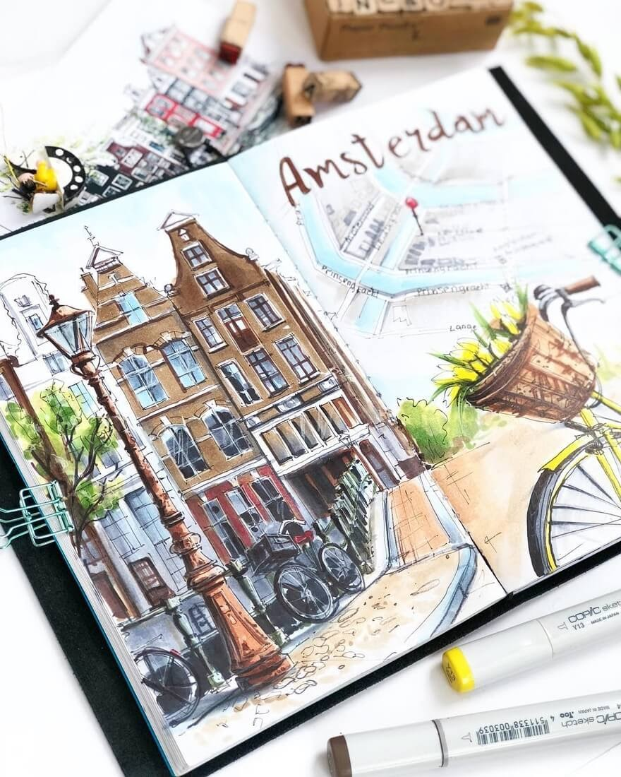 04-City-Sketches-Amsterdam-Irina-Shelmenko-Ирина-Шельменко-Travel-Diary-Sketches-and-Moleskine-Drawings-www-designstack-co