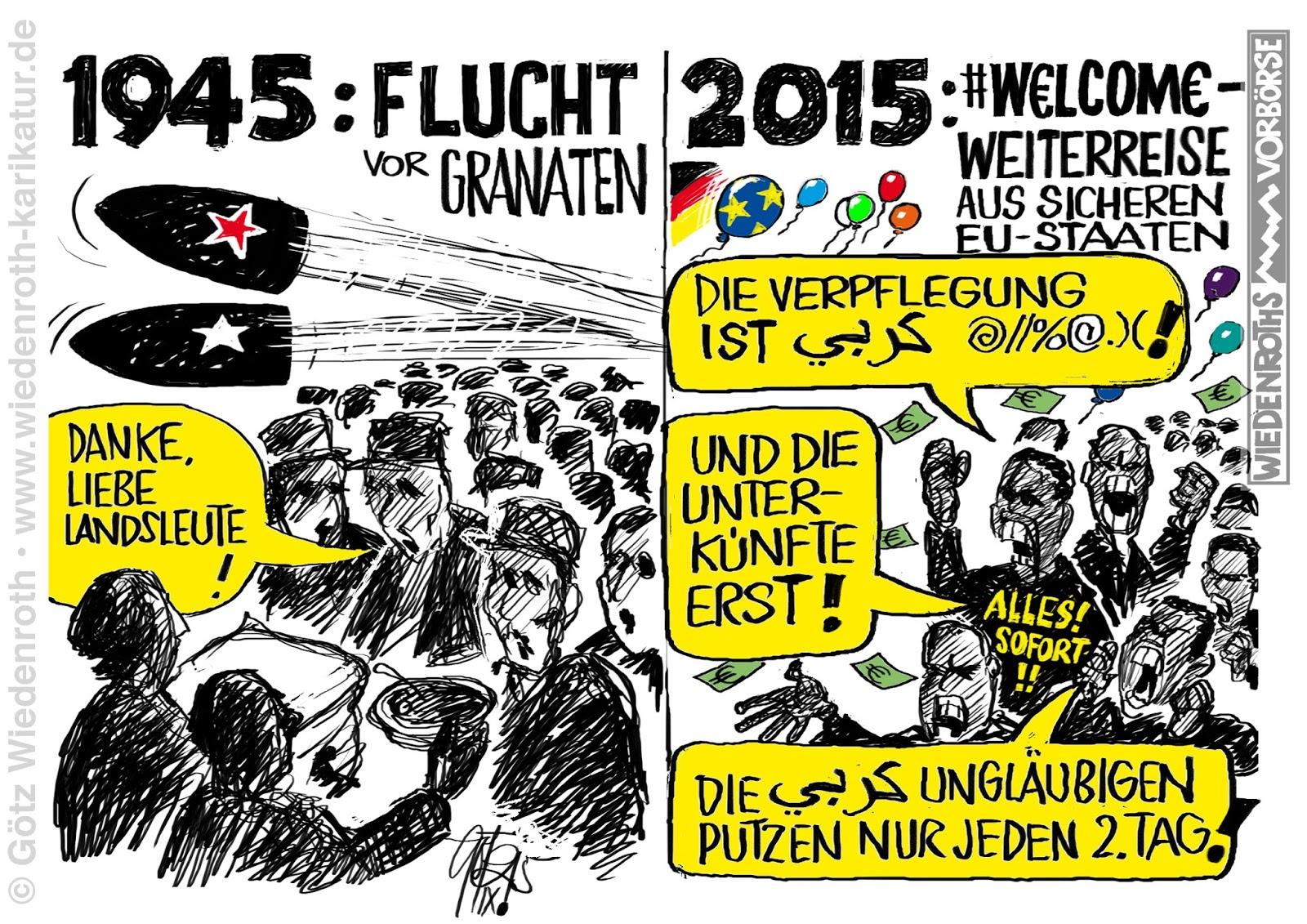 Bildergebnis für karikaturen flüchtlinge in unterkünften