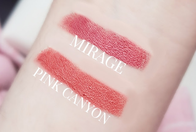 100 pure mirage and pink canyon lipstick swatches