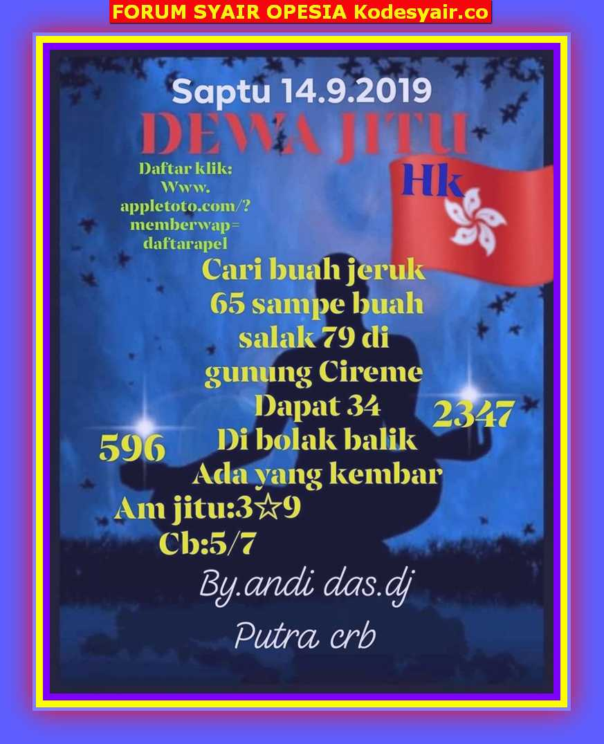 Syair hkg Sabtu 14 September 2019 19