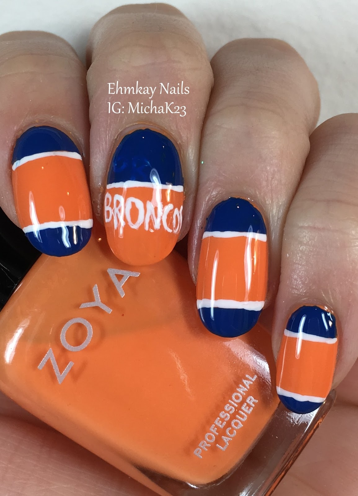 Ehmkay nails super bowl nail art denver broncos nail art with denver broncos nail art with zoya nail polish prinsesfo Gallery