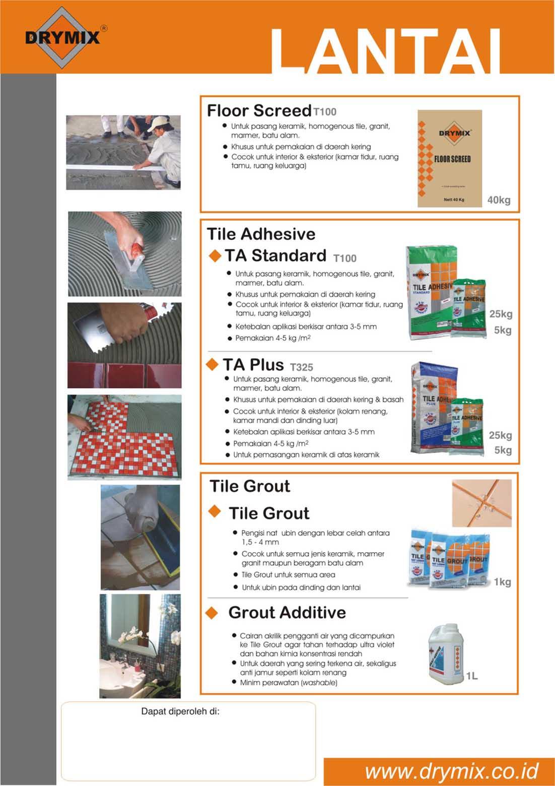 Mortar Instan Drymix untuk Aplikasi Lantai