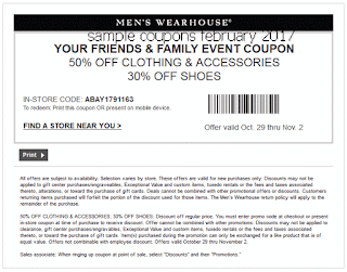 Men's Wearhouse coupons for february 2017